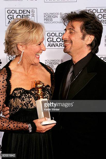 Actress Glenn Close poses with her award for Best Performance by an Actress in a MiniSeries or Made for TV Movie with Actor Al Pacino during the 62nd...