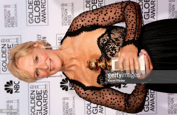 Actress Glenn Close poses with her award for Best Performance by an Actress in a MiniSeries or Made for TV Movie during the 62nd Annual Golden Globe...