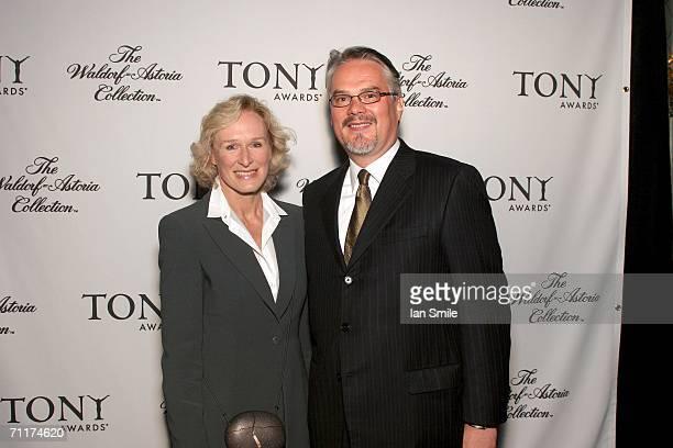 Actress Glenn Close poses with Vice President WaldorfAstoria David Graydanus at The Tony Awards Honor Presenters And Nominees at the Waldorf Astoria...