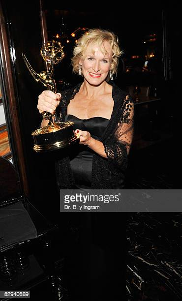 """Actress Glenn Close, with her Emmy award for Best Actress in a Drama Series, arrives at the """"Damages"""" post Emmy party at the Foxtail on September 21,..."""
