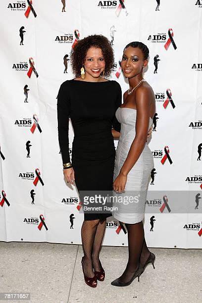Actress Glora Reuben 2007 Jack Valenti award recipient and model Yomi Abiola attend the opening night screening of the Aids Film Festival at the...