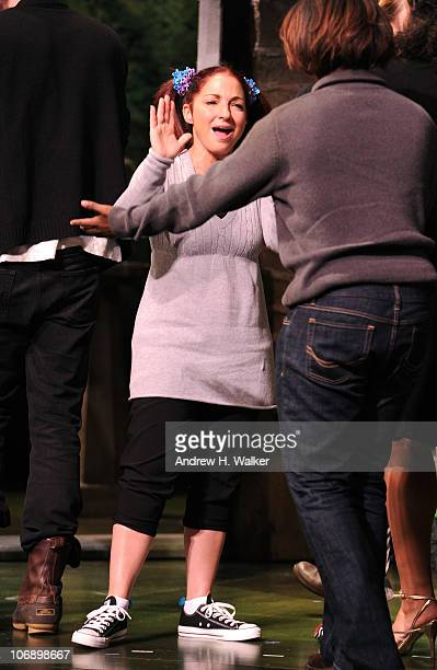 Actress Gloria Estefan onstage at the curtain call of the 10th annual production of the 24 Hour Plays on Broadway presented by MONTBLANC at American...