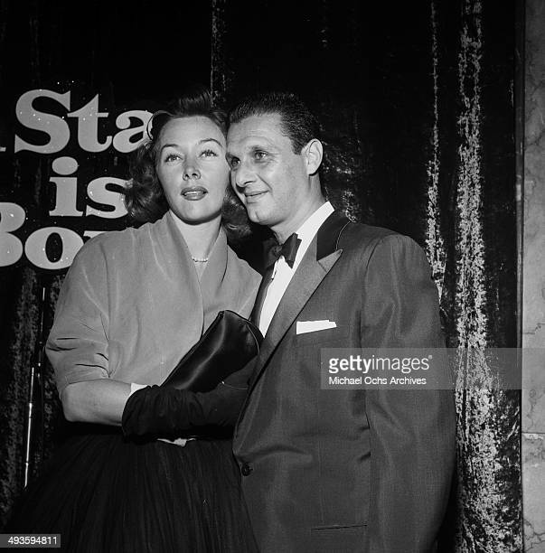 Actress Gloria Grahame with Cy Howard attends a party forA Star Is Born in Los Angeles California