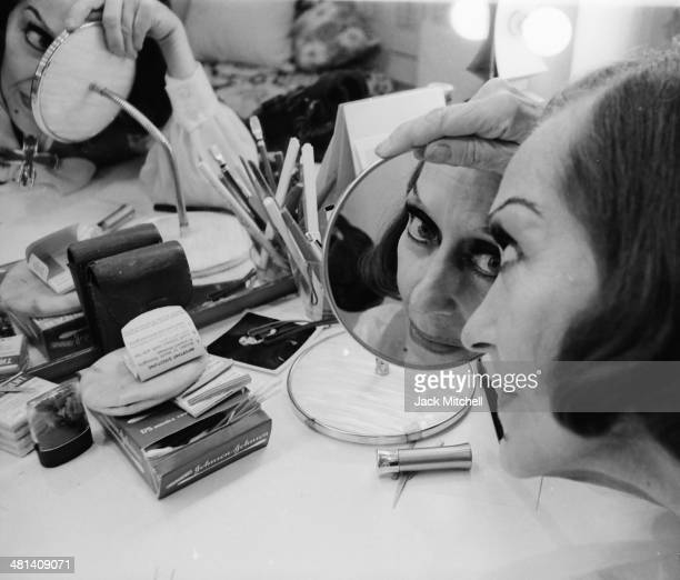Actress Gloria Swanson at the Booth Theatre on Broadway where she starred in 'Butterflies Are Free' in 1972 her last major stage role