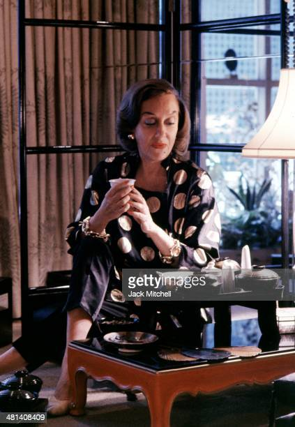 Actress Gloria Swanson photographed at her home in New York City in 1960