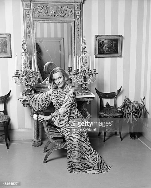Actress Gloria Swanson photographed at her home in New York City in 1965