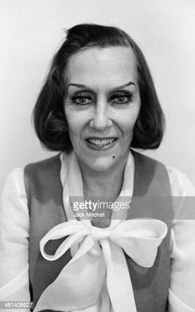 Actress Gloria Swanson posing for her passport photo at the Booth Theatre on Broadway where she starred in 'Butterflies Are Free' in 1972 her last...