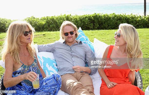 Actress Goldie Hawn actor Wyatt Russell recipient of the 2016 Maui Film Festival Rising Star Award in Wailea and actress Meredith Hagner attend Maui...