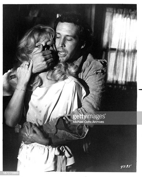 Actress Goldie Hawn and actor Chevy Chase on set of the Columbia Pictures movie Seems Like Old Times in 1980