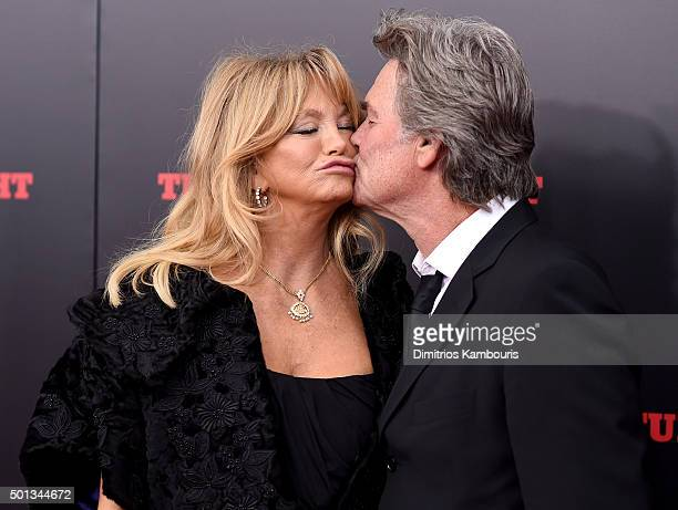 Actress Goldie Hawn and Actor Kurt Russell attend the New York premiere of 'The Hateful Eight' on December 14 2015 in New York City