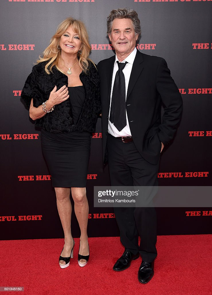 Actress Goldie Hawn (L) and Actor Kurt Russell attend the New York premiere of 'The Hateful Eight' on December 14, 2015 in New York City.
