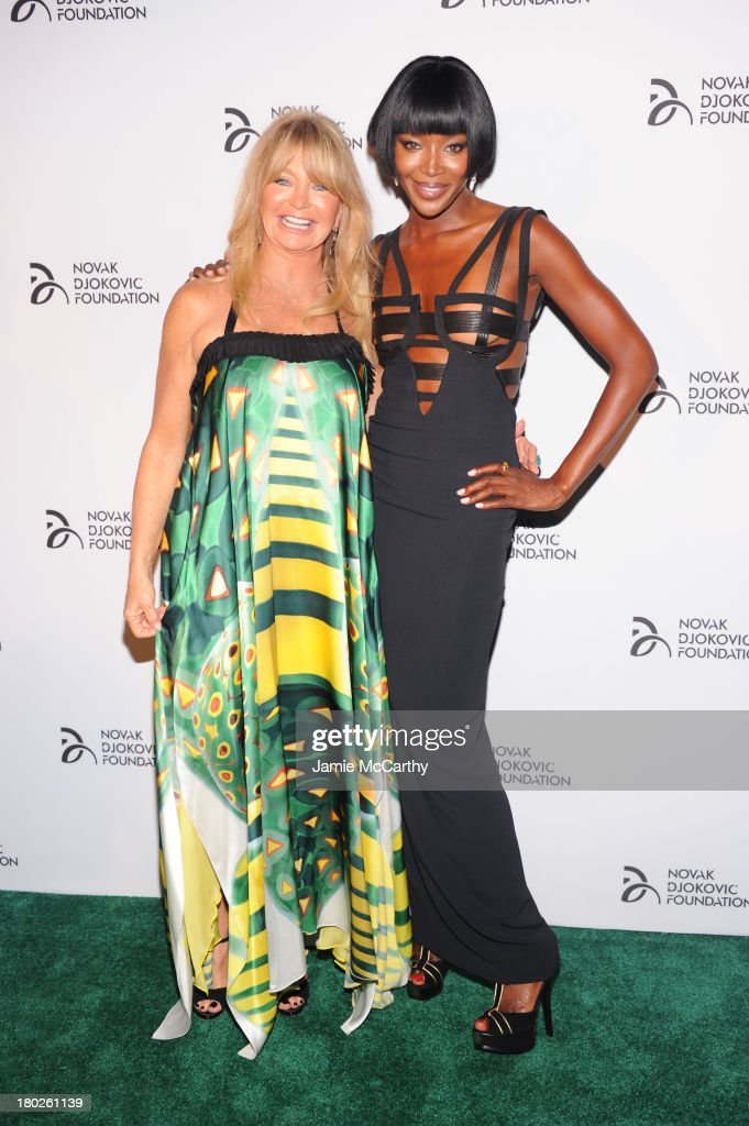 Actress Goldie Hawn (L) and model Naomi Campbell attends the Novak Djokovic Foundation New York dinner at Capitale on September 10, 2013 in New York City.