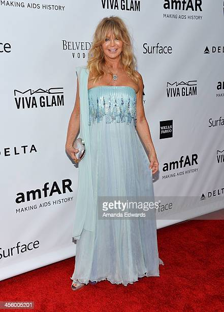 Actress Goldie Hawn arrives at amfAR The Foundation for AIDS 4th Annual Inspiration Gala at Milk Studios on December 12 2013 in Hollywood California