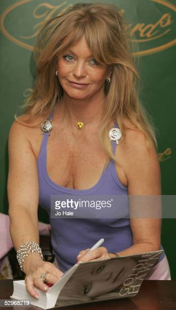 Actress Goldie Hawn attends a signing of her memoirs A Lotus Grows In The Mud published May 9 at Hatchards Piccadilly on May 23 2005 in London