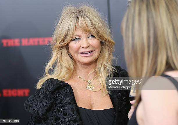 Actress Goldie Hawn attends the The New York Premiere Of 'The Hateful Eight' on December 14 2015 in New York City