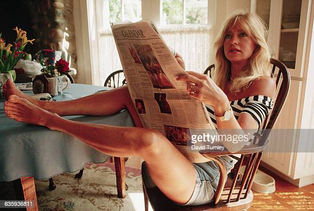 Actress Goldie Hawn Reading a Newspaper