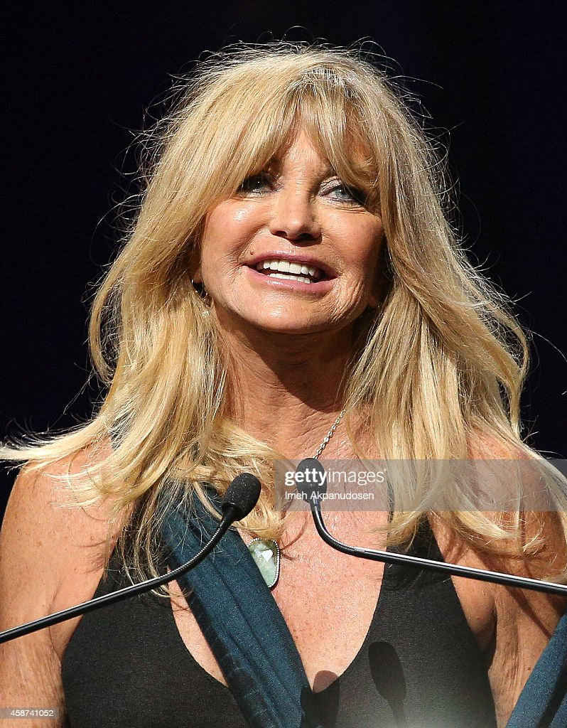 Actress Goldie Hawn speaks onstage at the 2014 Thelonious Monk International Jazz Trumpet Competition at Dolby Theatre on November 9, 2014 in Hollywood, California.