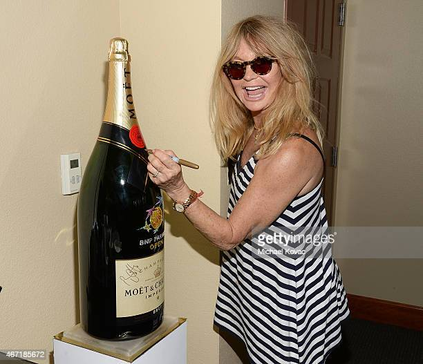 Actress Goldie Hawn visits The Moet and Chandon Suite at the 2015 BNP Paribas Open on March 21 2015 in Indian Wells California