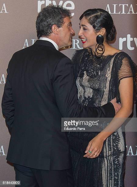 Actress Golshifteh Farahani and actor Antonio Banderas attend 'Altamira' premiere at Callao cinema on March 31 2016 in Madrid Spain
