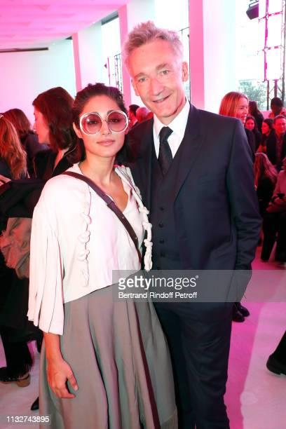 Actress Golshifteh Farahani and CEO of Chloe Geoffroy de la Bourdonnaye attend the Chloe show as part of the Paris Fashion Week Womenswear...
