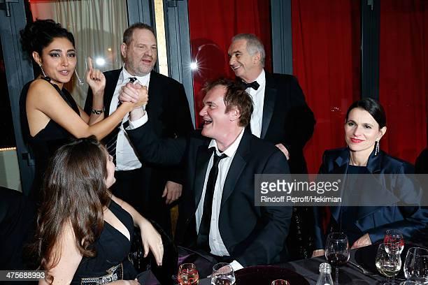 Actress Golshifteh Farahani producer Harvey Weinstein director Quentin Tarantino Academy President Alain Terzian and Aurelie Filippetti attend dinner...