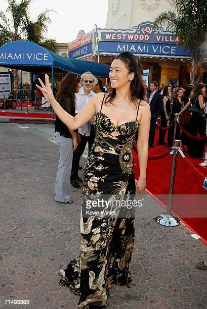 Actress Gong Li arrives at the Universal Pictures premiere of Miami Vice held at the Mann's Village Theatre on July 20 2006 in Westwood California