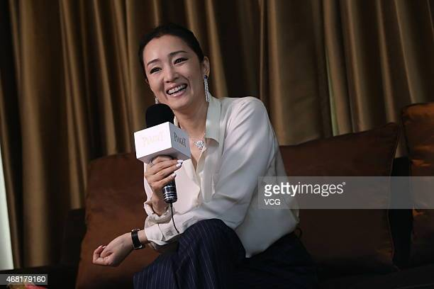 Actress Gong Li is interviewed during the Limelight Gala activity on March 30 2015 in Beijing China