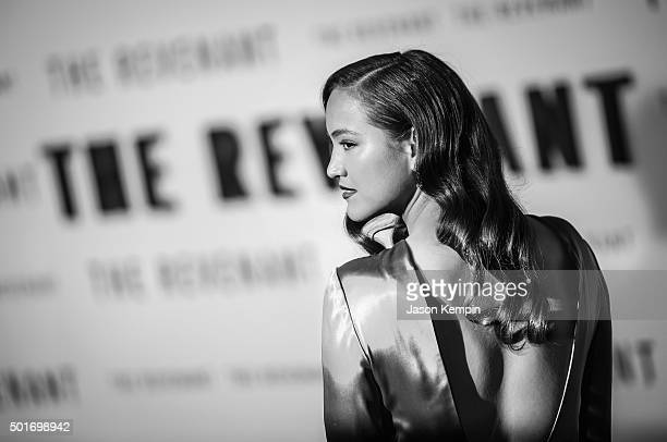 """Actress Grace Dove attends the premiere of 20th Century Fox's """"The Revenant"""" at TCL Chinese Theatre on December 16, 2015 in Hollywood, California."""