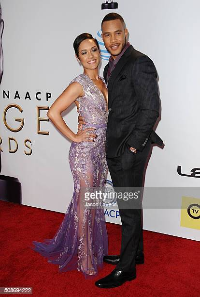Actress Grace Gealey and actor Trai Byers attend the 47th NAACP Image Awards at Pasadena Civic Auditorium on February 5, 2016 in Pasadena, California.
