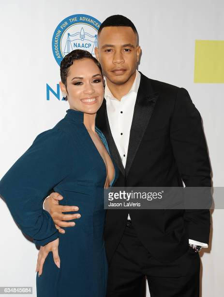 Actress Grace Gealey and actor Trai Byers attend the 48th NAACP Image Awards at Pasadena Civic Auditorium on February 11 2017 in Pasadena California