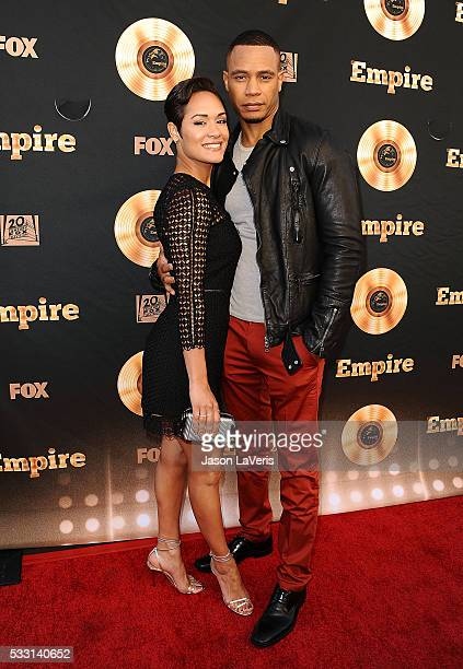 """Actress Grace Gealey and actor Trai Byers attend the """"Empire"""" FYC ATAS event at Zanuck Theater on May 20, 2016 in Los Angeles, California."""
