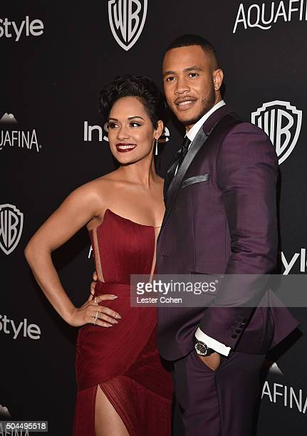 Actress Grace Gealey and Trai Byers attend InStyle and Warner Bros. 73rd Annual Golden Globe Awards Post-Party at The Beverly Hilton Hotel on January...