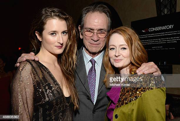 Actress Grace Gummer filmmaker Tommy Lee Jones and actress Miranda Otto attend the after party for 'The Homesman' during AFI FEST 2014 Presented By...