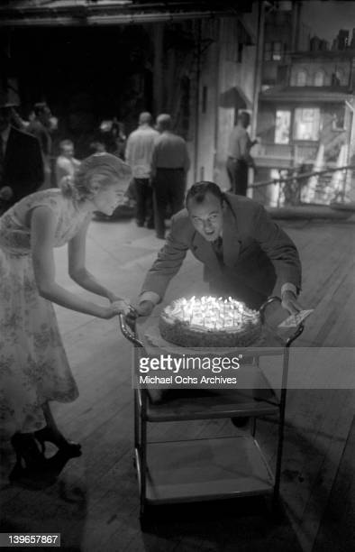 Actress Grace Kelly celebrates her 24th birthday on the set of the Paramount Pictures movie 'Rear Window' in November 1953 in Los Angeles California
