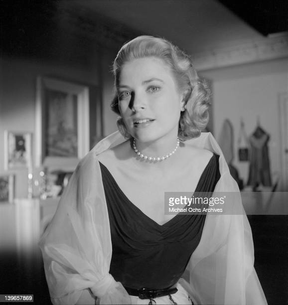 Actress Grace Kelly poses for a portrait on the set of the Paramount Pictures movie 'Rear Window' in November 1953 in Los Angeles California