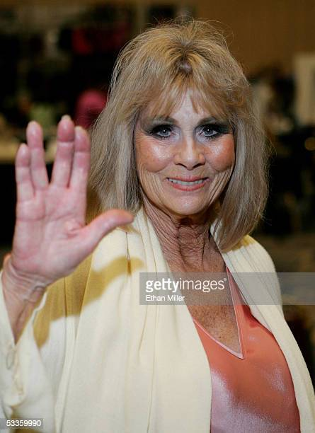 Actress Grace Lee Whitney who played Janice Rand in the original Star Trek television series and films poses at the Star Trek convention at the Las...