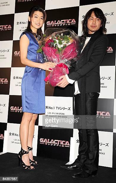 Actress Grace Park and musician Ken of L'ArcenCiel attend TV Drama series Galactica special screening at Shinjuku Wald 9 on January 19 2008 in Tokyo...