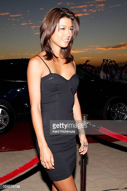 Actress Grace Park arrives at Sunset on the Beach on Waikiki Beach for a screening of the highly-anticipated 'Hawaii 5-0' series premiere on...