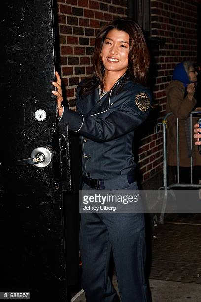 """Actress Grace Park arrives, in Uniform, for her appearance on the """"Late Show with David Letterman"""" at the Ed Sullivan Theatre on March 17, 2008 in..."""