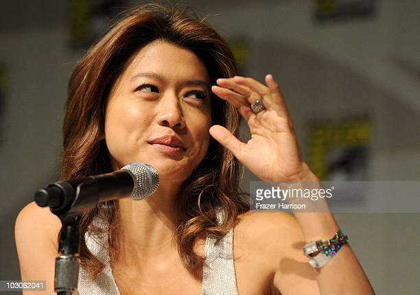 Actress Grace Park speaks during the Hawaii Five0 panel discussion during ComicCon 2010 at San Diego Convention Center on July 23 2010 in San Diego...