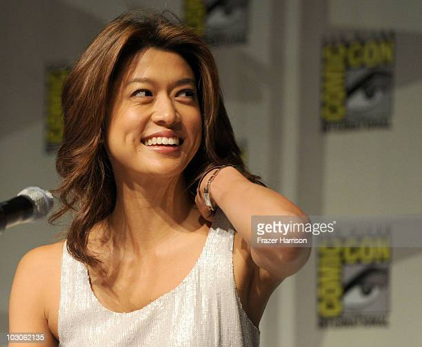 "Actress Grace Park speaks during the ""Hawaii Five-0"" panel discussion during Comic-Con 2010 at San Diego Convention Center on July 23, 2010 in San..."