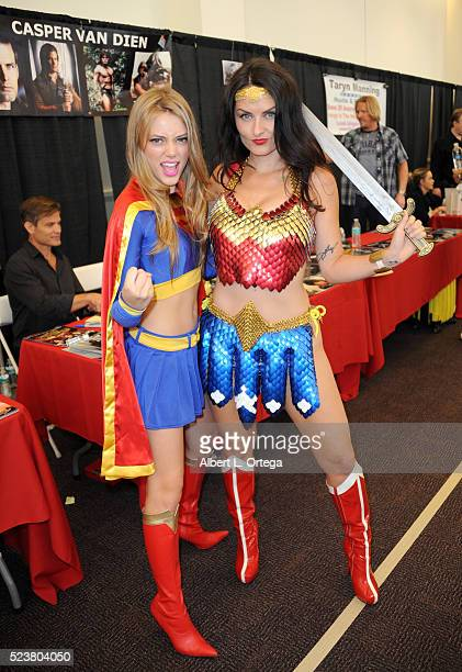Actress Grace Van Dien and cosplayer Jay Wonder attend the 2016 Monsterpalooza Horror Convention held at Pasadena Convention Center on April 23 2016...