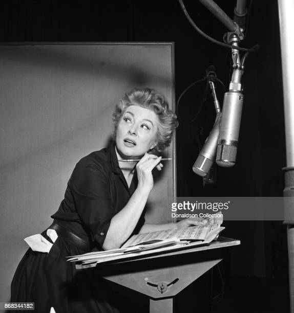 Actress Greer Garson records in the studio in 1959 in New York
