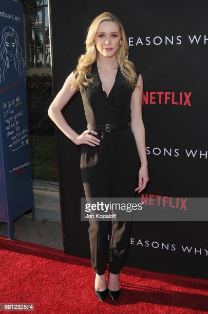 Actress Greer Grammer arrives at the Los Angeles Premiere of Netflix's '13 Reasons Why' at Paramount Pictures on March 30 2017 in Los Angeles...