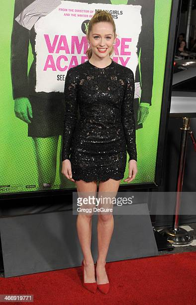 Actress Greer Grammer arrives at the Los Angeles premiere of 'Vampire Academy' at Regal Cinemas LA Live on February 4 2014 in Los Angeles California
