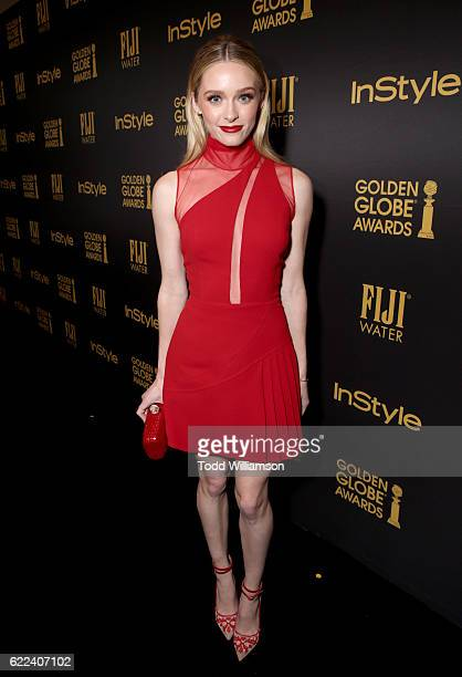 Actress Greer Grammer attends the Hollywood Foreign Press Association and InStyles Celebration of the 2017 Golden Globe Awards Season on November 10...