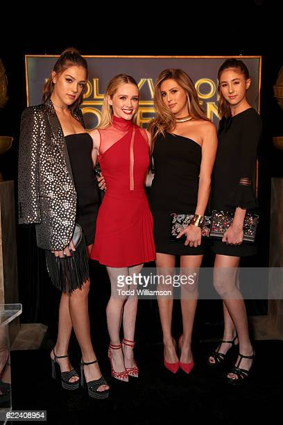 Actress Greer Grammer poses with 2016 Miss Golden Globes Sistine Stallone Sophia Stallone and Scarlet Stallone at the Hollywood Foreign Press...