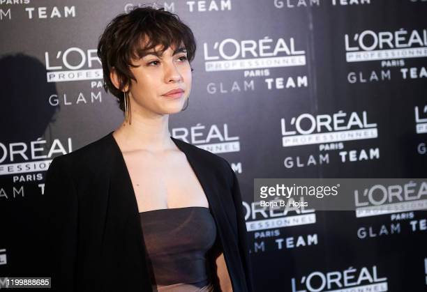 Actress Greta Fernandez nominated to Feroz Awards attends a presentation by GLAM team L'Oreal ahead of the Feroz Awards on January 16 2020 in Madrid...