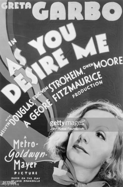 Actress Greta Garbo in George Fitzmaurice's film 'As You Desire Me', based on a play by Luigi Pirandello. Garbo plays Zara who is rescued from...