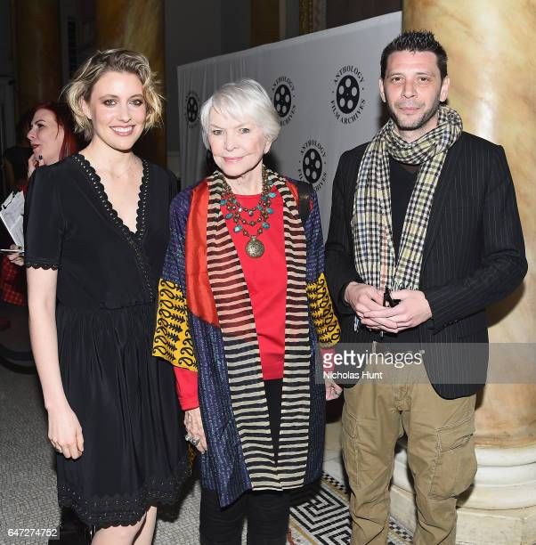 Actress Greta Gerwig actress Ellen Burstyn and Andrea Fratto attend The Anthology Film Archives Benefit and Auction on March 2 2017 in New York City
